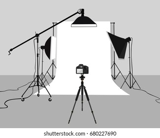 Flat Illustration Photography studio vector. Photo studio background with soft box light, camera, tripod and backdrop.
