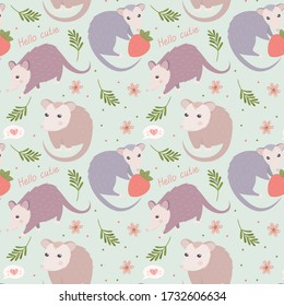 Flat illustration of  possums. Cute animal vector pattern. Adorable opossum picture. Kids design for fabric, textile, decor, cloth, prints.