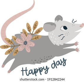 Flat illustration of possums. Cute animal vector. Adorable opossum picture. Kids design for fabric, textile, decor, cloth, prints.