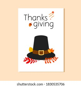 Flat illustration of postcard thanksgiving with thanksgiving hat on crime color background. Good for your postcard, card, etc