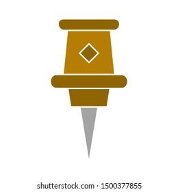 flat illustration of push pin vector icon, pushpin sign symbol