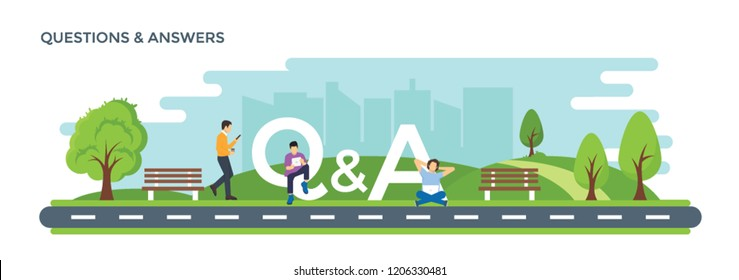 Flat illustration of question and answer