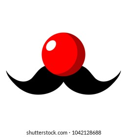 Flat illustration. Red nose and mustache on a white background. Red Nose Day concept. Vector.