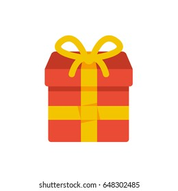 Flat illustration of a red and yellow gift