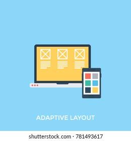 Flat illustration of responsive web design concept, web design development