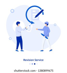 Flat Illustration Revision Service concept, can be used for onboarding mobile apps, web landing pages, banners, posters. vector-illustration