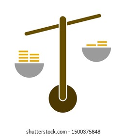 flat illustration of scales vector icon, balance sign symbol