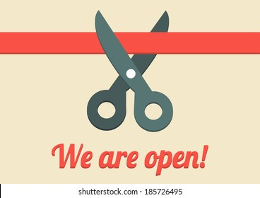 Flat illustration of scissors cutting red ribbon with text We are open!