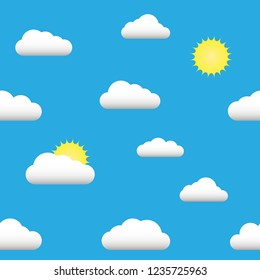 Flat illustration seamless pattern of the sun, clouds.