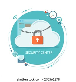 Flat illustration of security center. Cloud  with lock and icons. Eps10