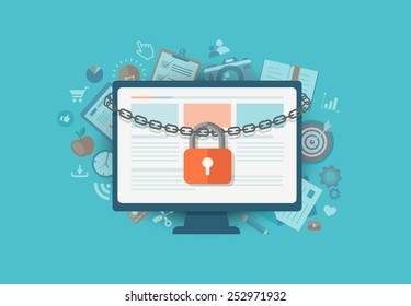 Flat illustration of security center. Lock with chain around  laptop. Eps10