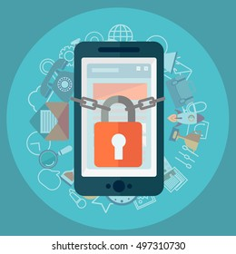 Flat illustration of security center. Lock with chain around phone.