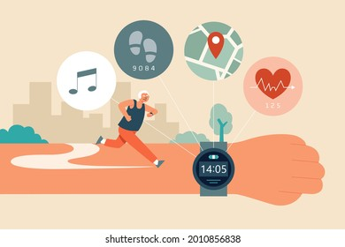 Flat illustration of a senior man wearing a fitness tracker watch with pedometer, heart rate sensor, GPS, and music app while running outdoor