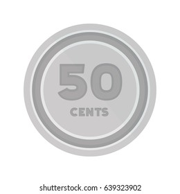 Flat illustration of a silver 50 cents