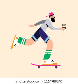 Flat illustration with a skater