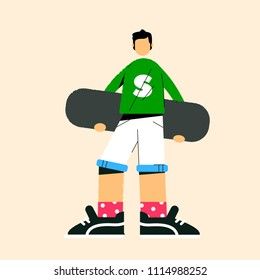 Flat illustration with skater on yellow background