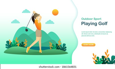 Flat illustration of sporty girl playing golf. Golf banner, site, poster template