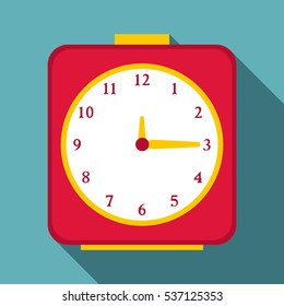 Flat illustration of square alarm clock vector icon for web