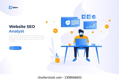 Flat illustration style. a man sitting in front of a desk working using laptop analyzing finance website SEO with coffee book concept for hero image landing page