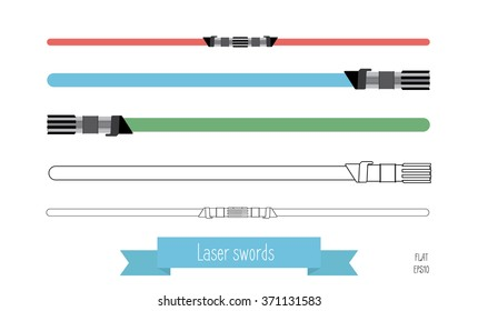 The flat illustration swords. Multi-colored flat swords and swords in the lines.