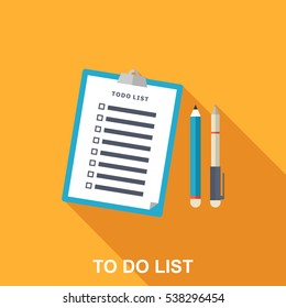 Flat Illustration of To-do List, Pen and Pencil. Long Shadow Icon