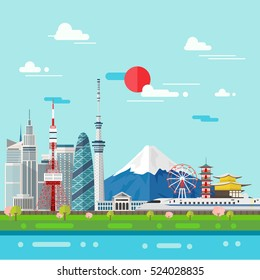 Flat illustration of Tokyo city in Japan.Japan landmarks Famous buildings.