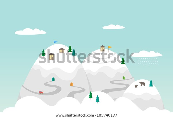 Flat illustration. Town in the mountains. Vector background snowy mountains.