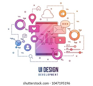 Flat illustration for ui-ux design, web design, mobile apps development. Modern flat colorful line designed concept.