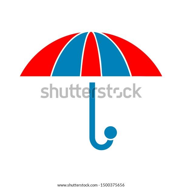flat illustration of umbrella vector icon, protection sign symbol