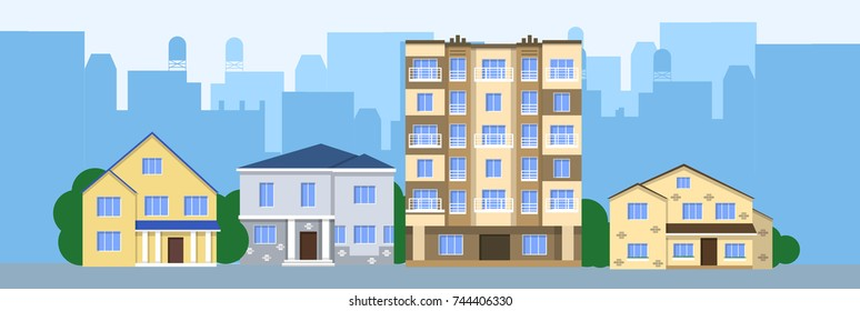 Flat illustration vector design houses city front view. Choosing a house. Houses in the background of the city