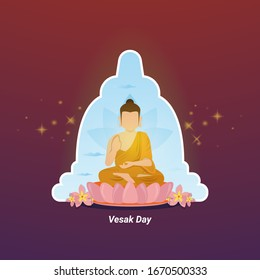 Flat illustration for Vesak day greeting, Buddha is meditating with the background of the temple
