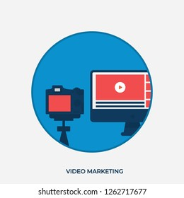 Flat Illustration of a Video Marketing Concept. Video Camera and Monitor with Videos. Video Stream. Modern Vector Icons in Round Shape.