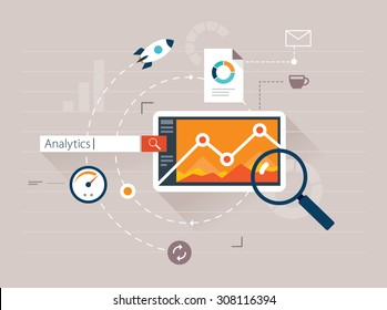 Flat illustration web analytics design