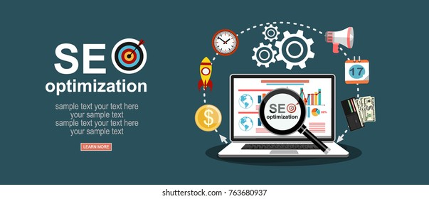 Flat illustration web analytics design , SEO optimization.