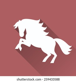 Flat illustration of white horse silhouette with long shadow on a marsala background.