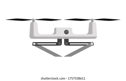 Flat illustration of white multicopter with empty holders. Vector illustration on white background