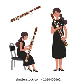 A flat illustration of woman bassoon player isolated on white background. Vector illustration.