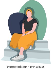 A flat illustration of a woman in a headscarf sitting on the steps