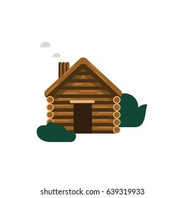 Flat illustration of a wooden cabin