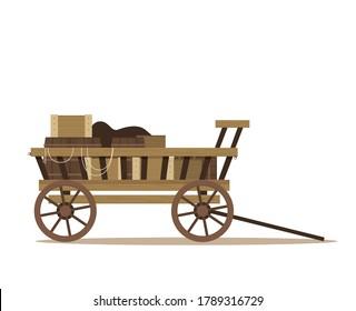 Flat illustration of wooden cart vector
