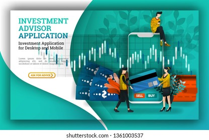 flat Illustrations of an investment account that provides advisor applications to facilitate investment management and find mutual funds companies and suggest the best stock market opportunities