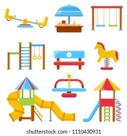 Flat illustrations of of various kids' playground equipment. Swing equipment, slide and sandpit, seesaw and bench. Vector illustration