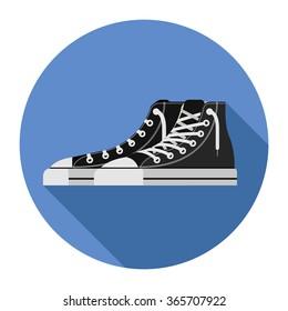 Flat image of black detailed shoes on blue circle background