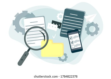Flat image. Business documents under a magnifying glass, important information, office sheets of paper, agreements on a white background. Vector image.