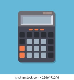 Flat image with calculator. Concept calculate account finance. Office equipment - calculator. Office desk top. Vector illustration