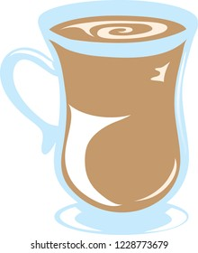 flat image of a cappucino with a white background