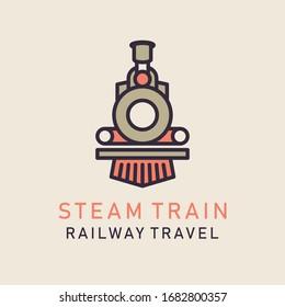 Flat image of retro steam train. Locomotive logo. Railway vector image