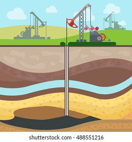 Flat Industrial drilling rig and Oil field, Soil layers vector illustration. Extraction of nature resources concept.