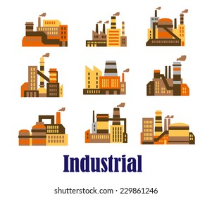 Flat industrial icons of plants, installations and factories with smoking chimney stacks in shades of brown, vector illustration on white
