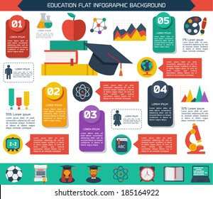 Flat infographic education background. Colorful template for you design, web and mobile applications.